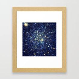 galaxY Stars : Midnight Blue & Gold Framed Art Print