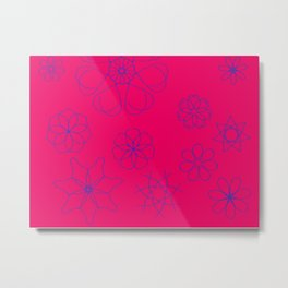 Red with blue cobalt flowers Metal Print