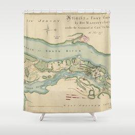 Attacks of Fort Washington Map (November 16, 1776) Shower Curtain