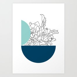 VESSEL - Floral Ink in Mint & Peacock Art Print