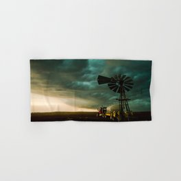 Pure Oklahoma - Windmill, Truck and Storm on Great Plains Hand & Bath Towel