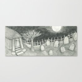 Spooky Cemetary Pencil Work Canvas Print