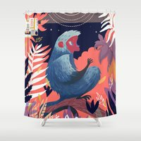 movie Shower Curtains featuring Movie night by Karl James Mountford