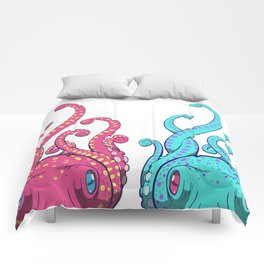 Octopuses (Pink and Blue) Comforters