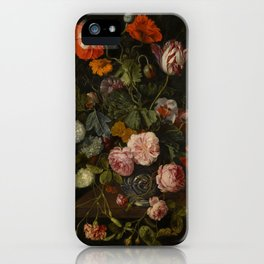 """Cornelis Kick """"A still life with parrot tulips, poppies, roses, snow balls, and other flowers"""" iPhone Case"""