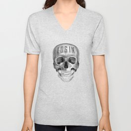 Skull Log in B&W Unisex V-Neck