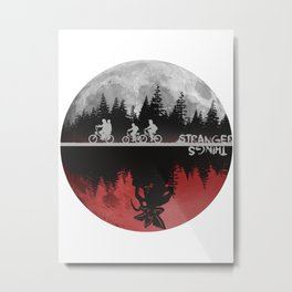 Stranger thing Moon And The Upside Down Metal Print