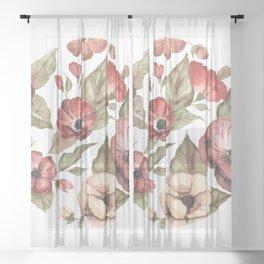 Circular Pink Florals Sheer Curtain