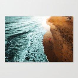 Red Hoodie Beach Canvas Print