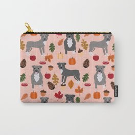 Pitbull fall autumn leaves acorn pinecones dog breed pet gifts pitbulls pet art Carry-All Pouch