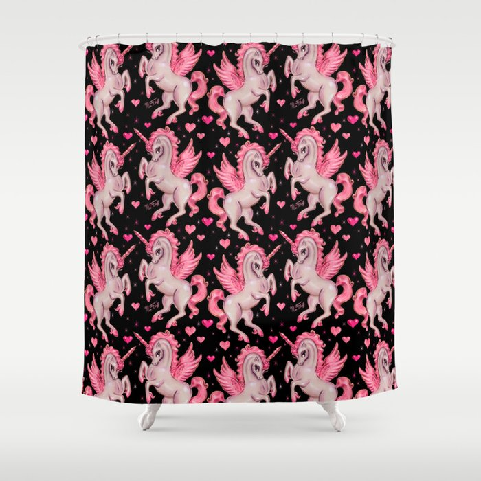 Pink Unicorn Pegasus On Black Shower Curtain
