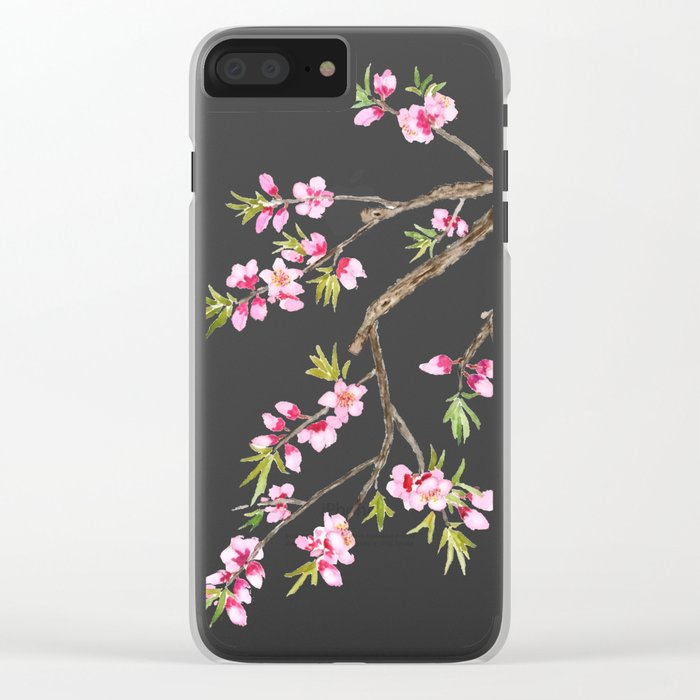 pink peach flowers Clear iPhone Case