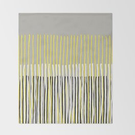 Yellow Rising - abstract stripes in yellow, grey, black & white Throw Blanket