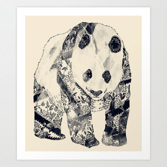 Tattooed Panda {cream} Art Print