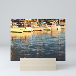 Sunset at the marina Mini Art Print