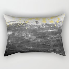 Minimal painting abstract gold black and white ocean water waves dots painterly Rectangular Pillow