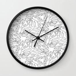 Monstera Black and White Line Art Pattern Wall Clock