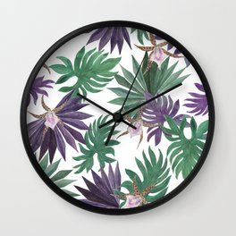 tropical leaves and orchid flowers Wall Clock