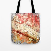 broadway Tote Bags featuring Broadway  by LebensART