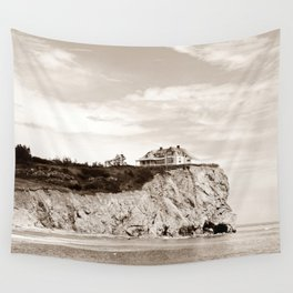 Big House on the Cliff Wall Tapestry