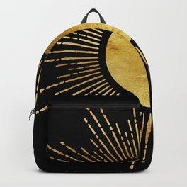 Golden Sunburst Starburst Noir Backpack