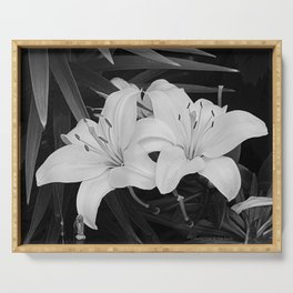 Contemporary Black White Lily Flower Floral Art A116 Serving Tray