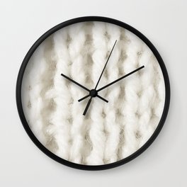 White Wool Knitting Texture Wall Clock