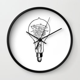 "Ode to the Bulb - ""lights are on"" Wall Clock"