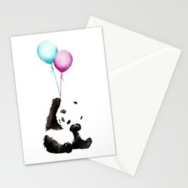 Panda With Baloons Stationery Cards