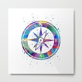 Compass Art Gift Colorful Blue Purple Art Nautical Lovers Travel Art Gifts Metal Print
