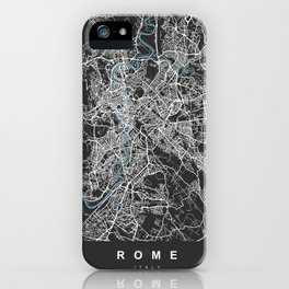 Rome Italy Map | Black & Blue | More Colors, Review My Collections iPhone Case