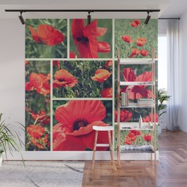 Poppies Collage Wall Mural