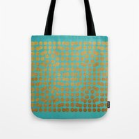 gold dots Tote Bags featuring Gold Dots on Turquoise by Sandra Arduini