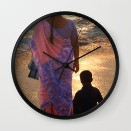 Woman in Pink and Blue Sari with Child Varkala Wall Clock