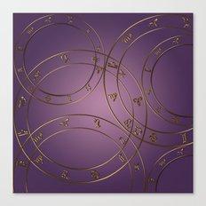 Zodiac signs and circles pink Canvas Print