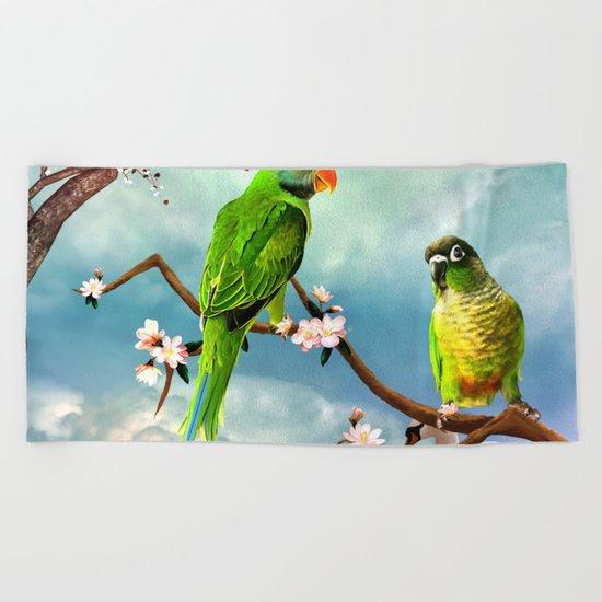 Wonderful, cute parrots Beach Towel