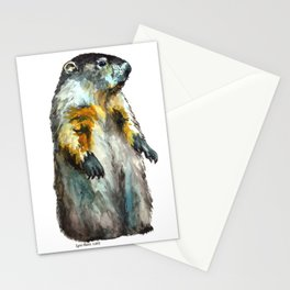 Watercolor Woodchuck (Groundhog) Stationery Cards