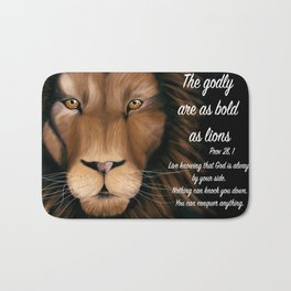 Lion - Proverbs 28, 1 Bath Mat