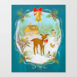 Fawn town Holidays Canvas Print