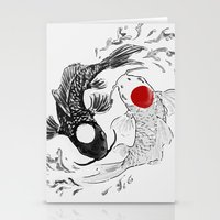 ying yang Stationery Cards featuring Koi fish ying yang by Maioriz Home
