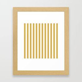 Large Mustard Yellow and White Cabana Tent Stripe Framed Art Print