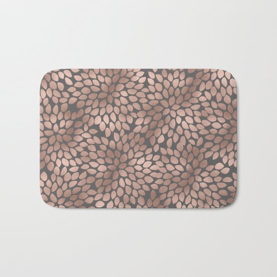 Rosegold flowers- abstract floral elegant pattern on grey background Bath Mat