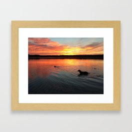sunset on silver lake Framed Art Print