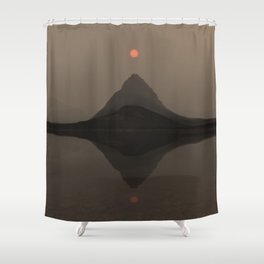 Sunset Over Mount Grinnell and Swiftcurrent Lake. Shower Curtain