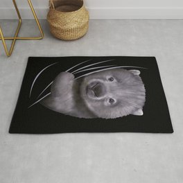 Wombat Animal Coming From Inside Rug