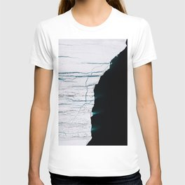 Black and White - Abstract minimal Iceberg aerial view in Greenland - Landscape Photography T-shirt