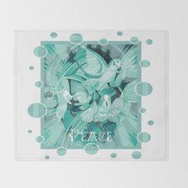 Dove With Celtic Peace Text In Aqua Tones Throw Blanket