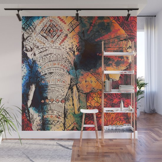 Indian Sketched Elephant Red Orange Asian Bohemian Hippie Elephants Art by inspiredimages