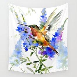 Alen's Hummingbird and Blue Flowers, floral bird design birds, watercolor floral bird art Wall Tapestry