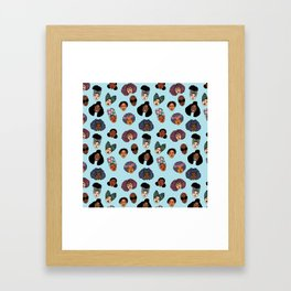 Black Hair Magic - Blue Framed Art Print